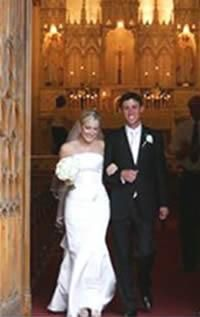 Bride and Groom Leaving Loretto Chapel
